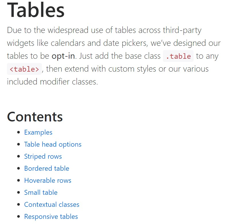 Bootstrap tables  main documentation