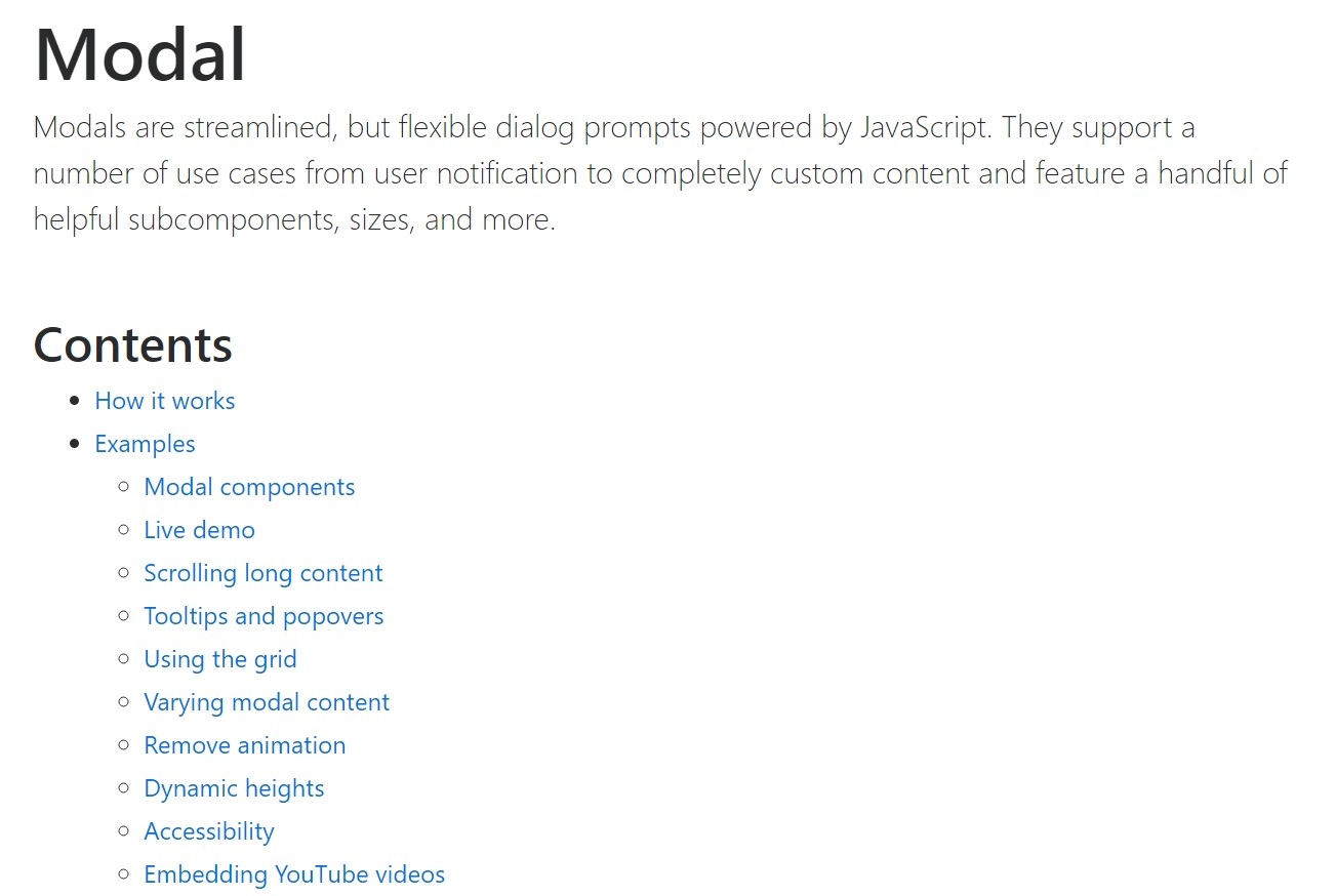 Bootstrap Modal Popup:  main  information
