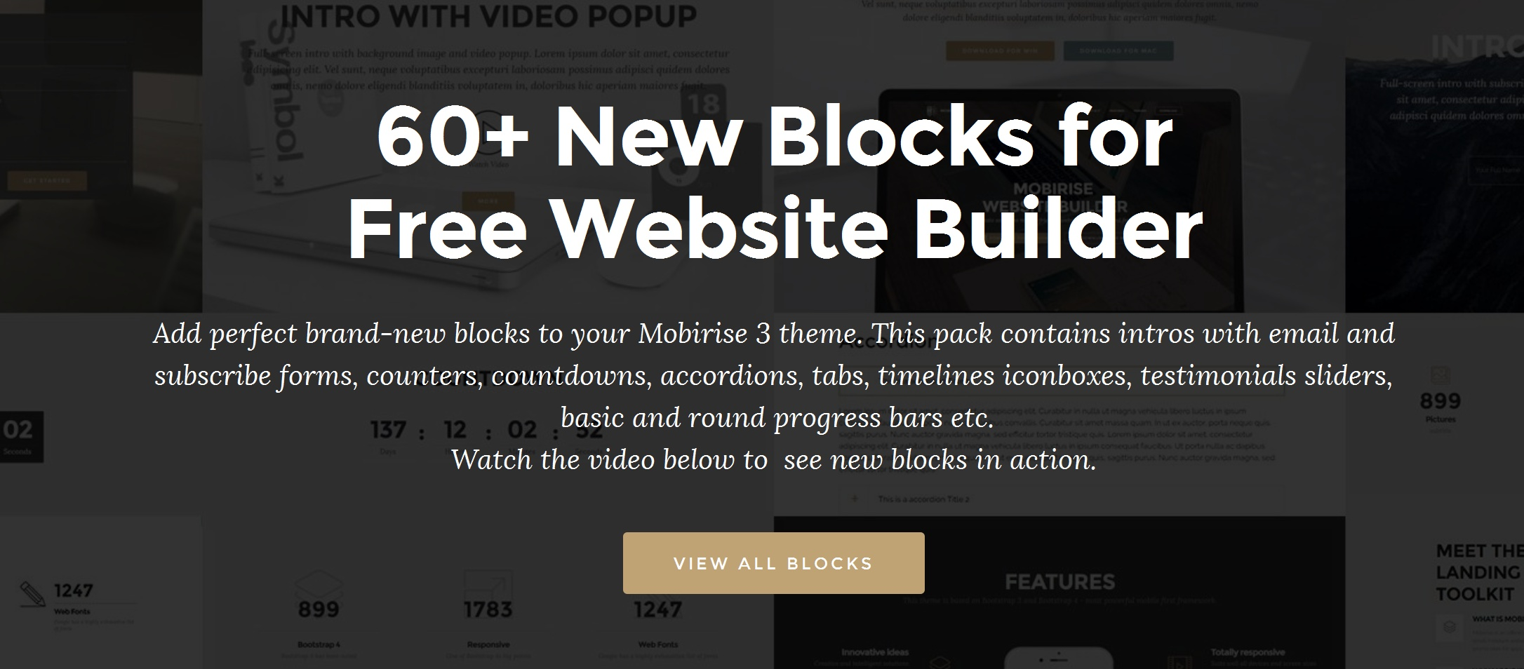 Mobirise Best Free Website Builder v3 with the Additional Blocks Pack
