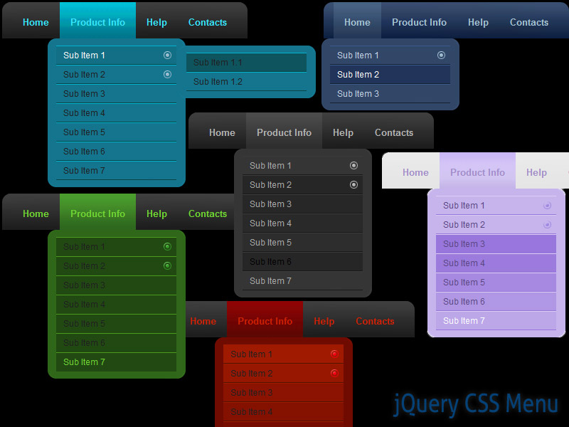 Click to view jQuery CSS Menu Style 06 1.3 screenshot