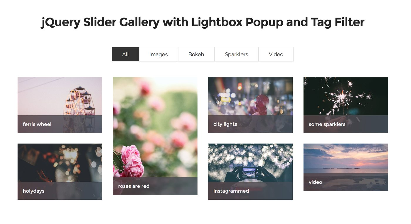 Bootstrap Slideshow Carousel  with Lightbox Popup and Tag Filter