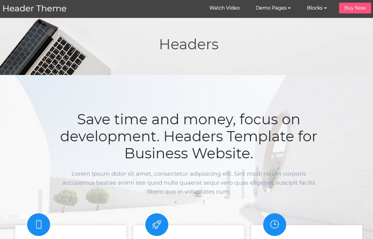 Awesome Header HTML Template