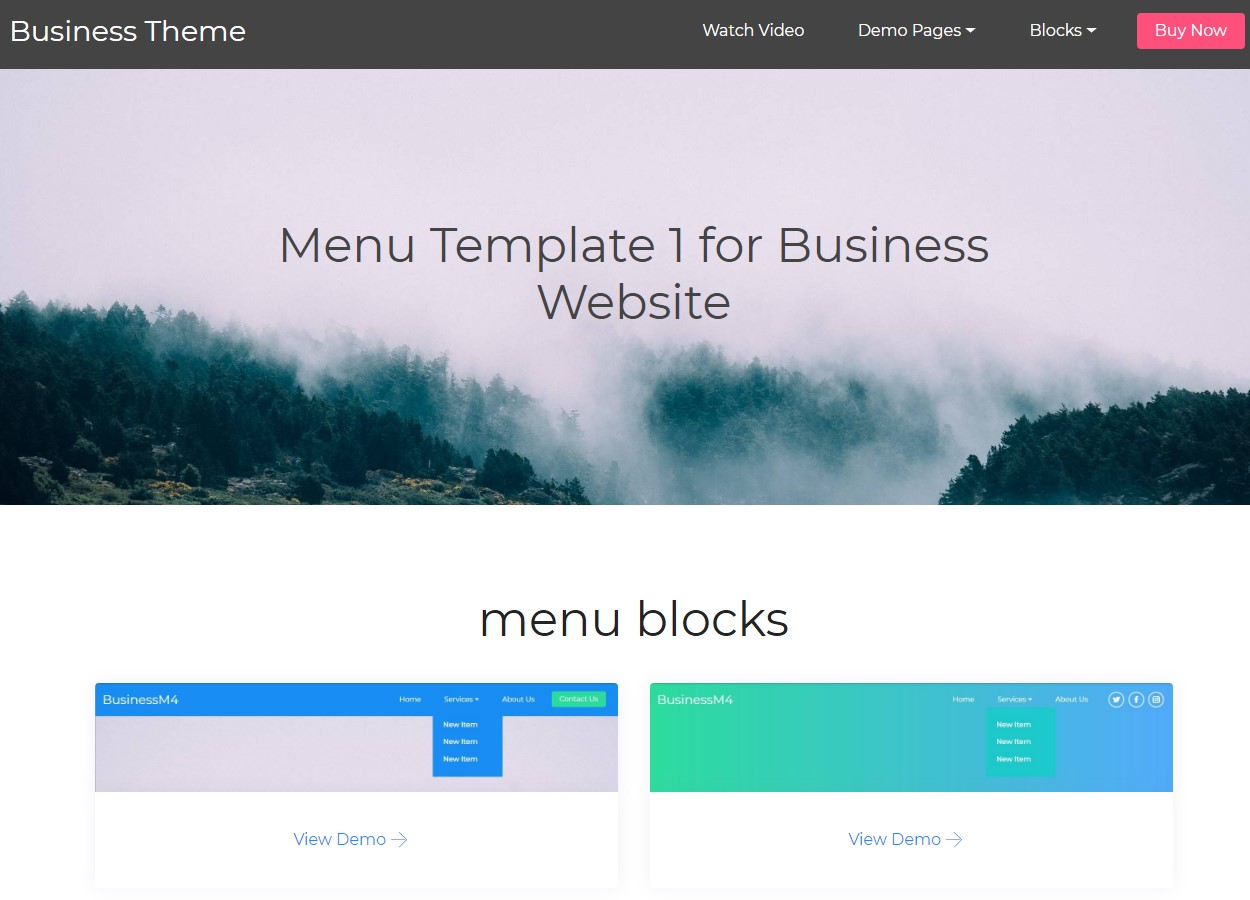 Mobile-friendly Menu HTML Template