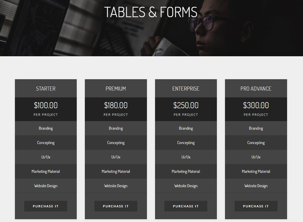Creative Tables and Forms HTML Template