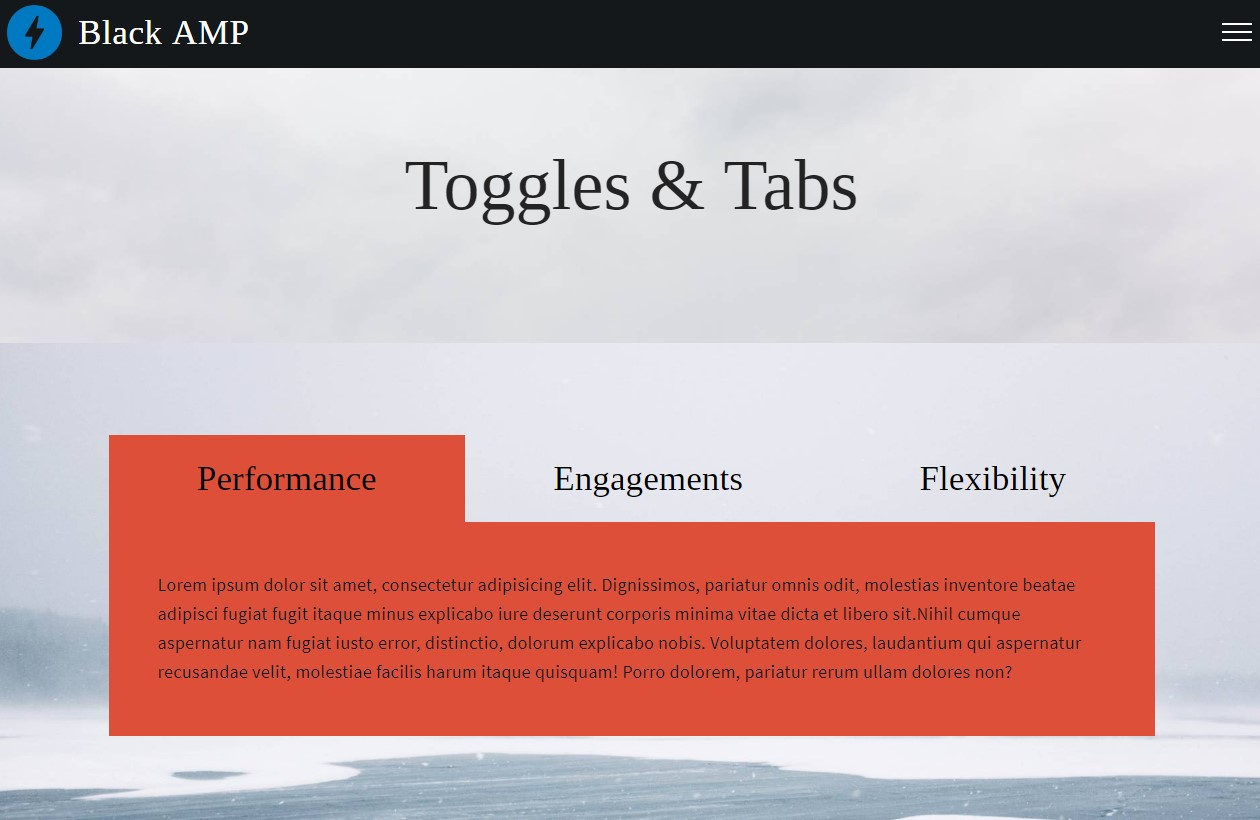 AMP HTML Toggles and Tabs Template