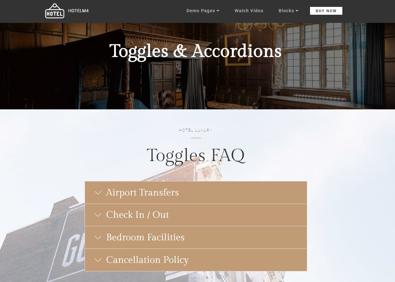 Toggles and Accordions Hotel Website Theme
