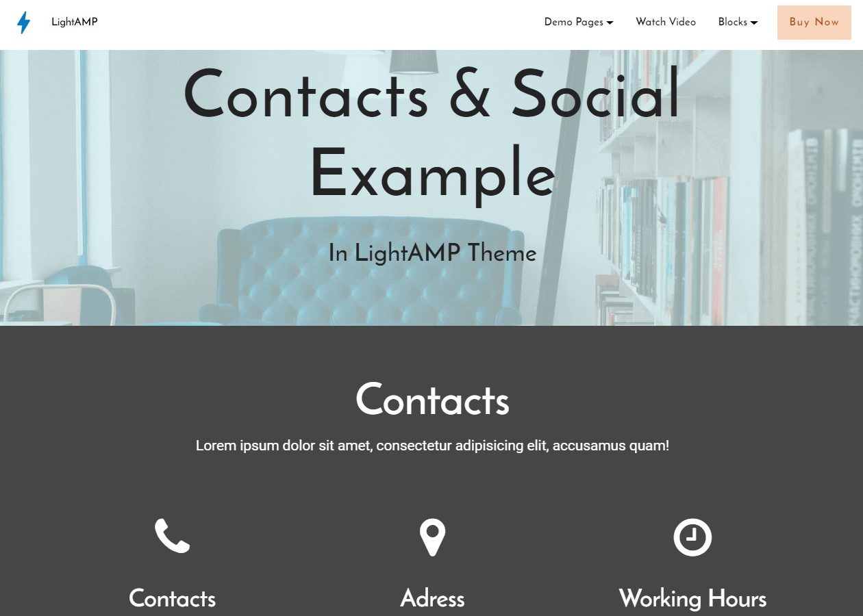 AMP Contacts and Social Template
