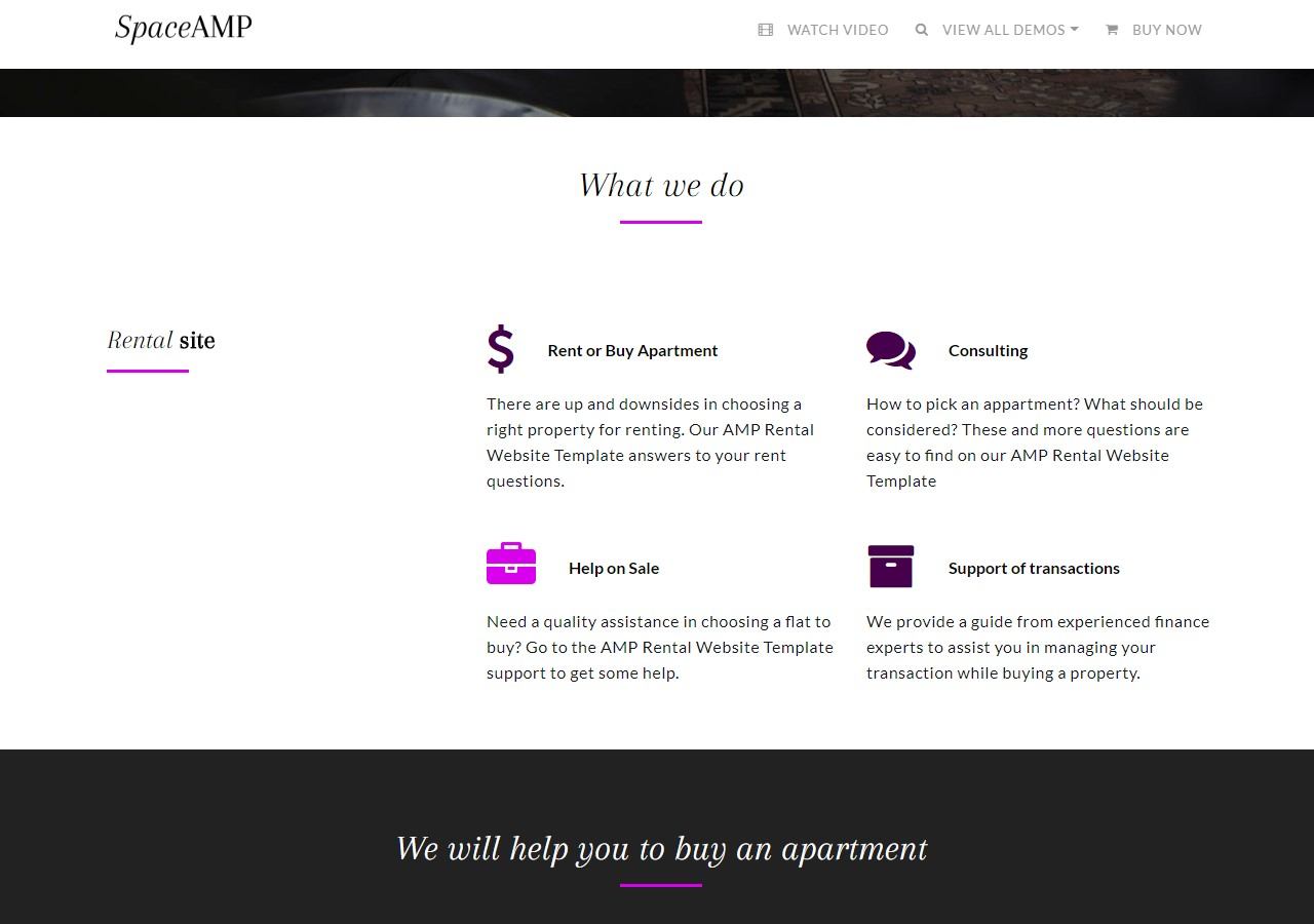 AMP Apartments For Sale Website Template DEMO