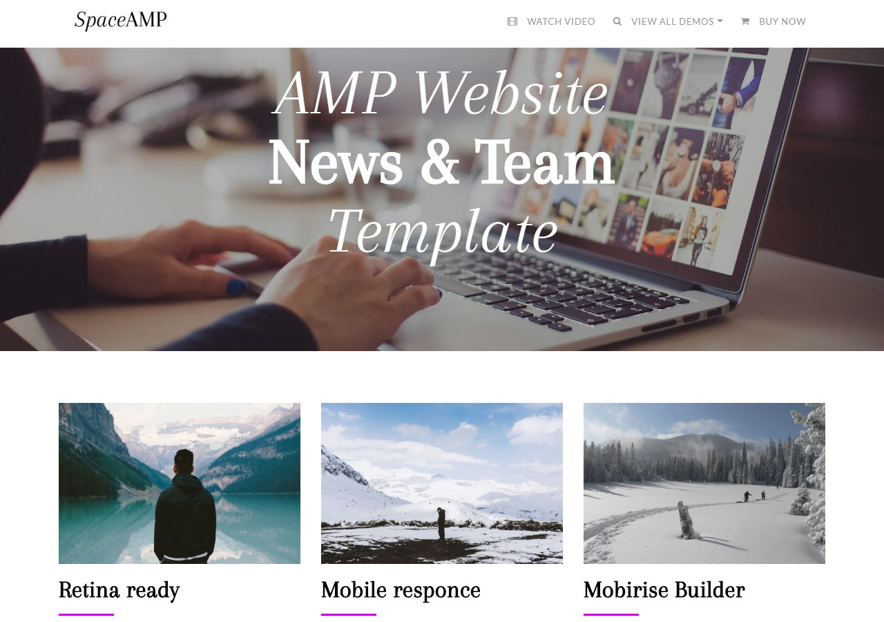 AMP Website News and Teams Template