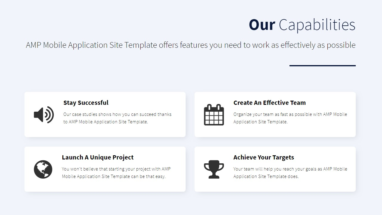 AMP Mobile Application Site Template