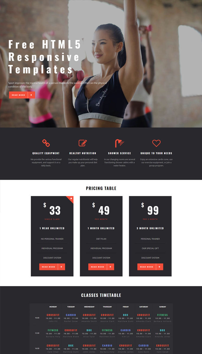Gym Website Templates