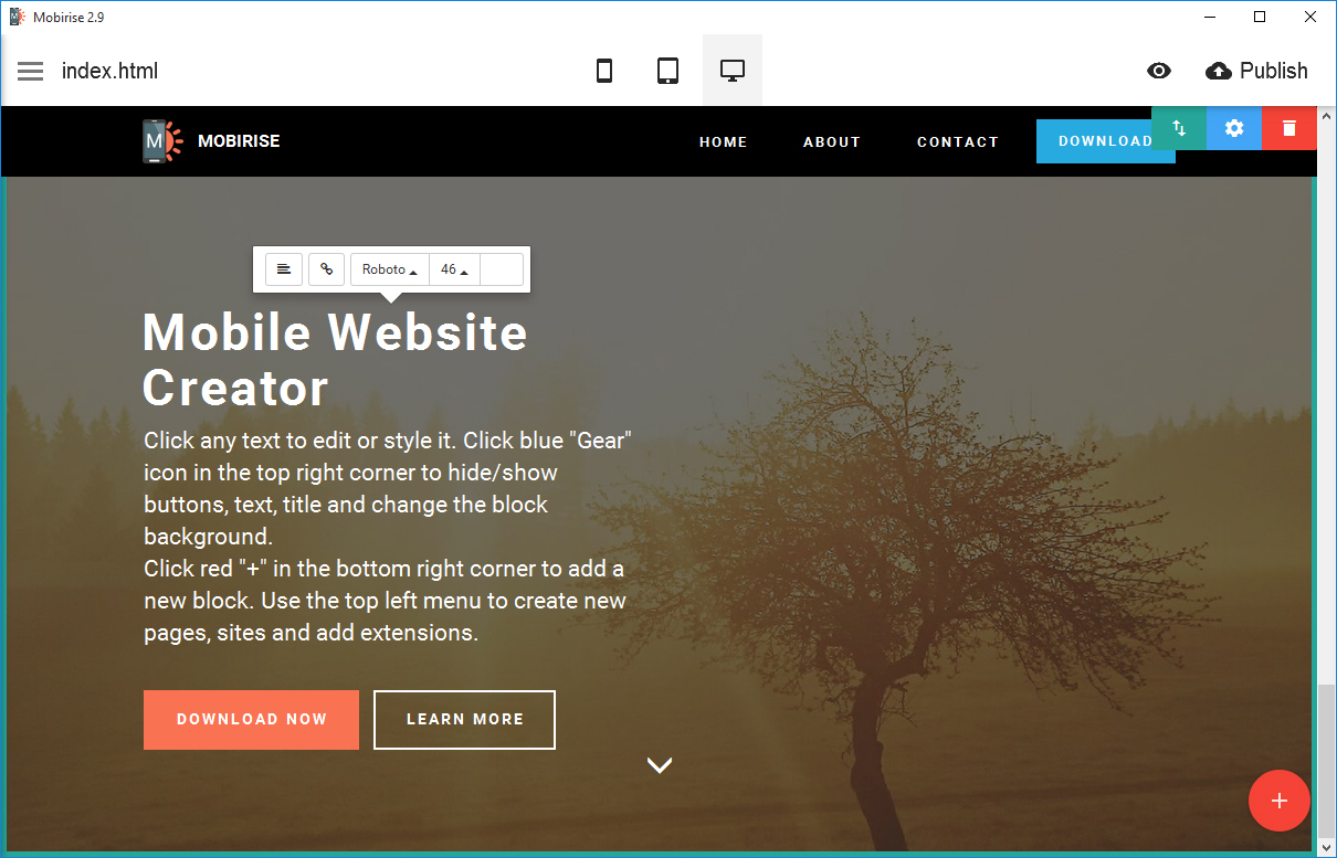 Mobirise mobile website creator is an offline program which helps in making simple and trendy websites in every size