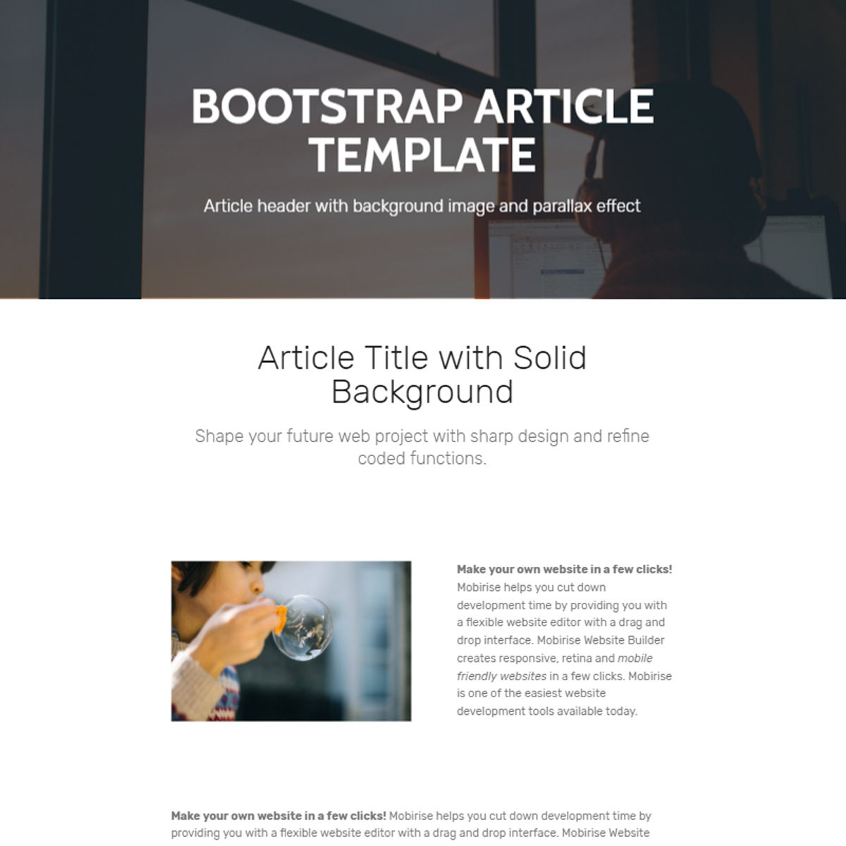 Free Bootstrap  Article  Templates