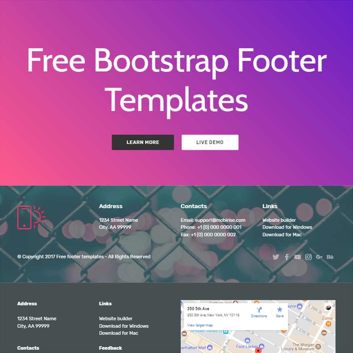 Free Bootstrap  Footer  Templates