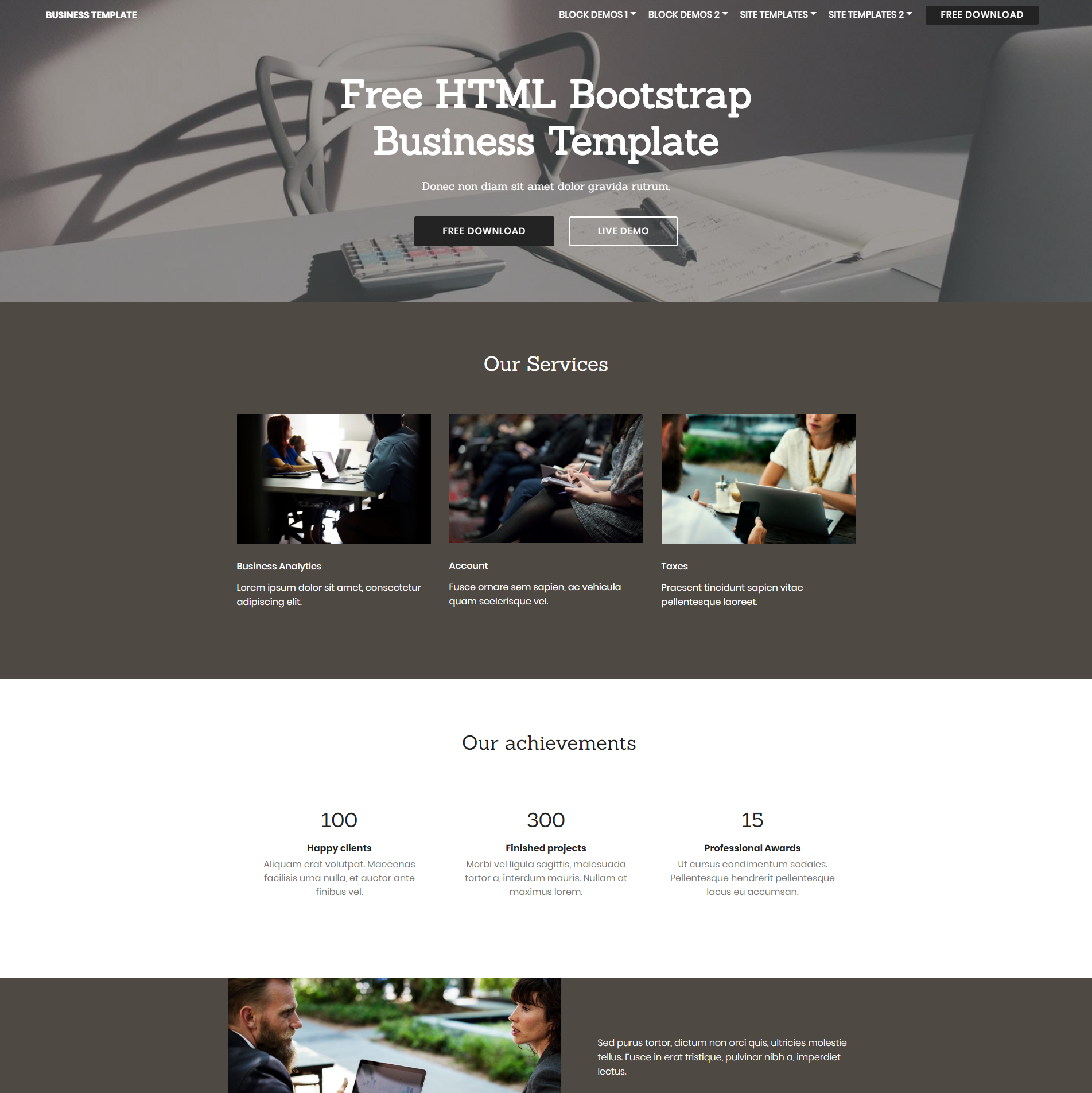 Free Bootstrap Business Templates