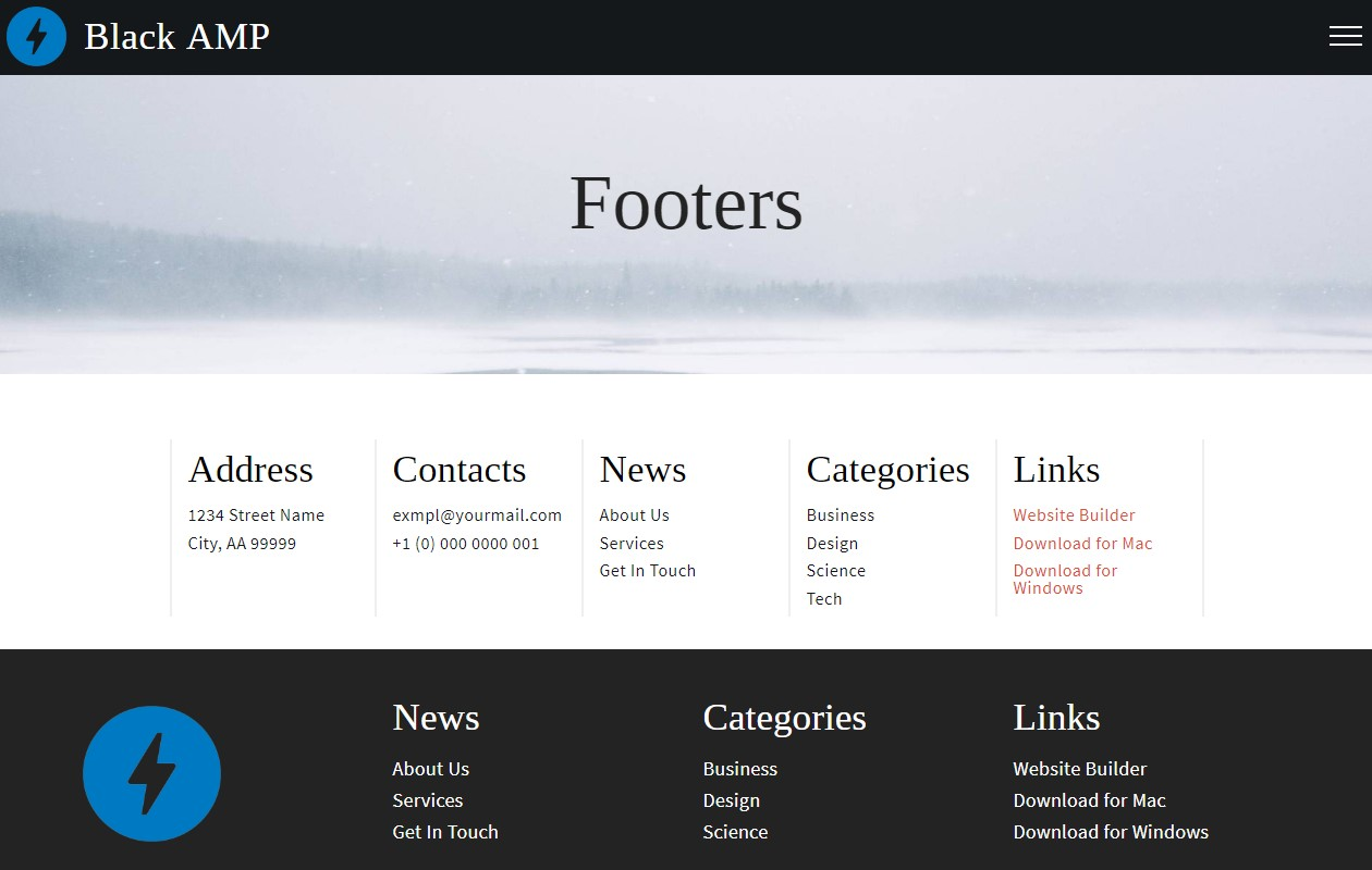 AMP HTML Footers Template