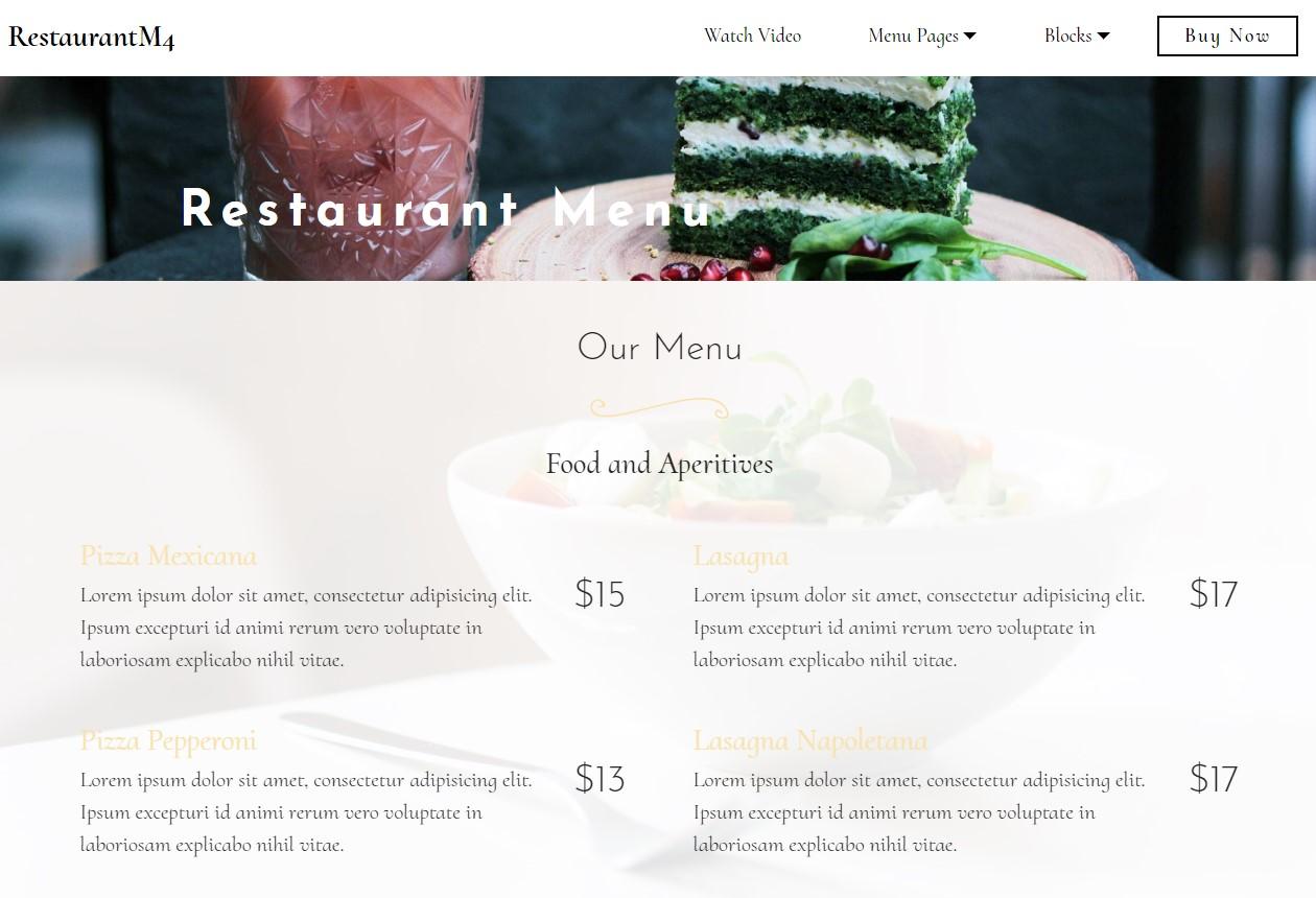 Bootstrap HTML Restaurant  Menu Template