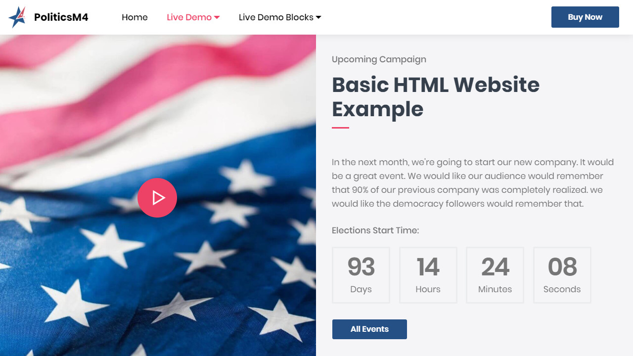 Election Basic HTML Website Example
