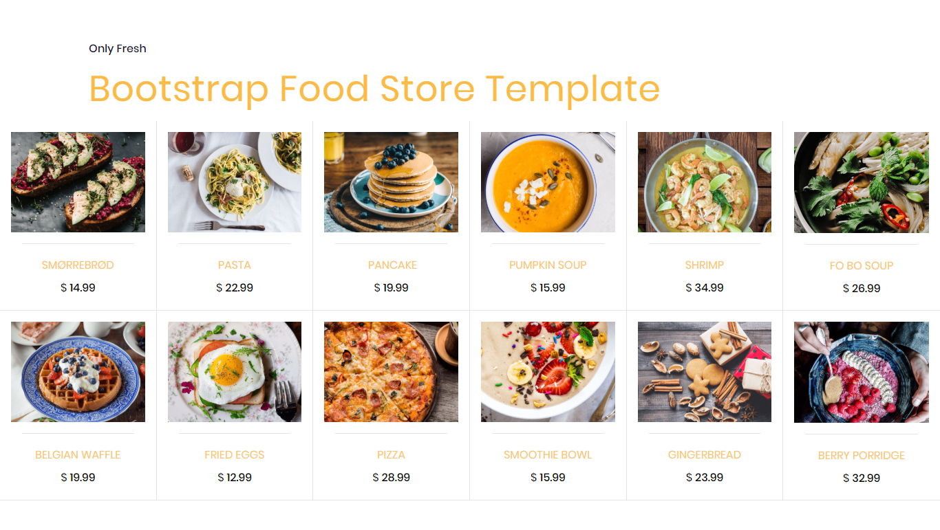 Bootstrap Food Store Template